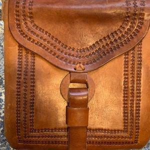 Leather vintage long strap purse